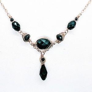 Black spinel, crystal (drop) & 14kt GF necklace